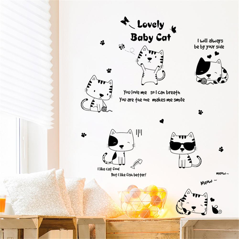 ISHOWTIENDA Creative Cute Funny Cat Cartoon Wall Sticker Kid Bedroom ...