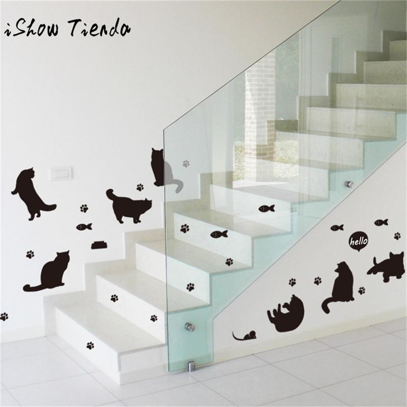 Ishowtienda Cute Cats Avatar Removable Wall Decal Family Home