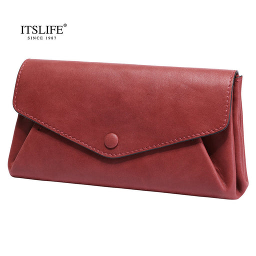 ITSLIFE 2018 Womens Luxury Genuine Leather Envelope Clutch Bag Ladies Evening Bags Female Cowhide Shoulder Bags Crossbody Bags