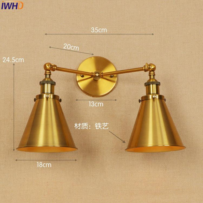 Iwhd Gold Antique Vintage Wall Lamp Led Edison Style Lighting 2 Heads Arm Industrial Wall Lights Sconce Led Stair Light Lampen