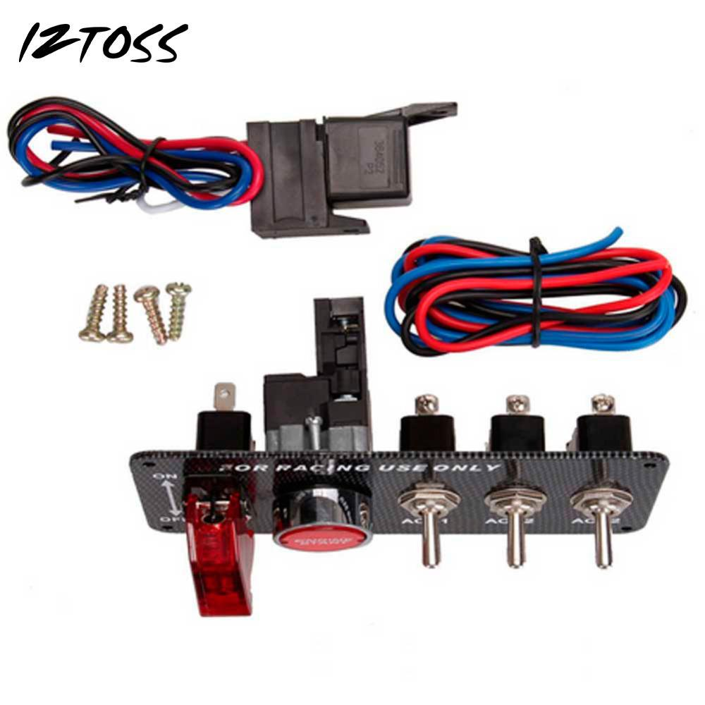 Iztoss 12v Racing Car Led Toggle Ignition Switch Panel Engine Start Race Wiring Push Button