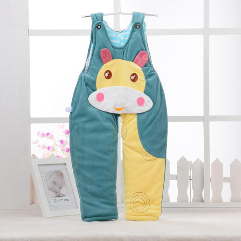 Infant Autumn Winter Warm Thicken Pants Cartoon Cattle Pink/Green Unisex Baby Rompers