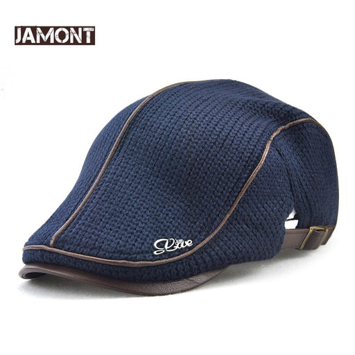 JAMONT  High Quality Winter Knitted Beret Casquette Homme Leather Flat Cap for Men Boina Hombre Visor Hat Planas Snapback Hat