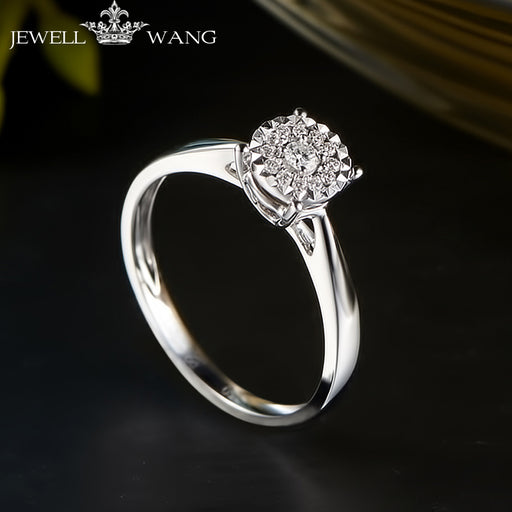 JEWELLWAGN Engagement Diamond Rings for Women 1.00CT Effect Certified 18K White Gold Wedding Ring Fine Jewelry Light Luxury Gift