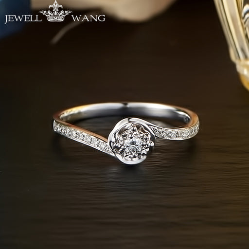 JEWELLWANG 18K White Gold Diamond Rings for Women Round Romantic 0.5CT Effect Certified Engagement Diamond Luxury Rings Brands