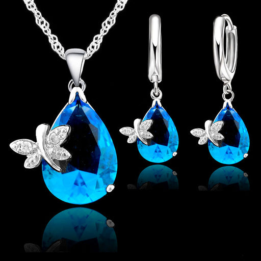 JEXXI Elegant Wedding Jewelry Sets For Brides 925 Sterling Silver Water Drop Crystal Pendant And Earring Set For Women Bijoux