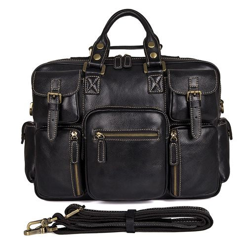 JMD Real Cow Leather Laptop Bag For Men Large Compartment Handbag Shoulder Bag Fashion Briefcase For Business Men 7028A-1