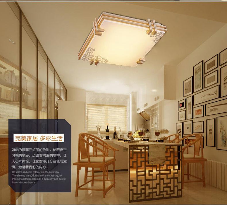 Ceiling Lights & Fans Ceiling Lights Japanese Style Delicate Crafts Wooden Frame Ceiling Light Led Ceiling Lights Luminarias Para Sala Dimming Led Ceiling Lamp