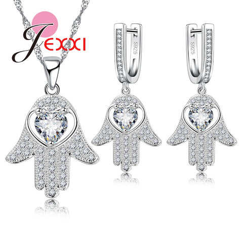 Jemmin 2017 Jewelry Sets For Women Wedding Accessory S925 Silver And Crystal Earrings And Necklace Pendent For Female Gift