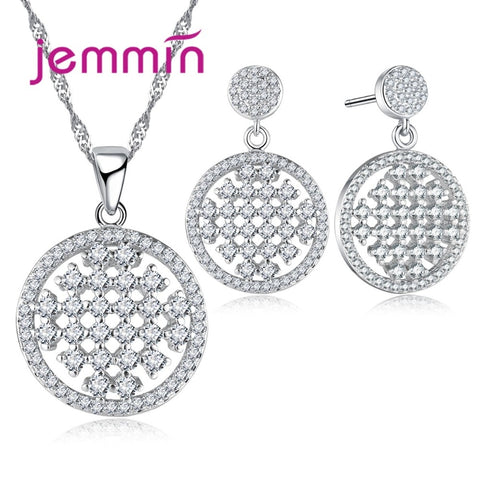 Jemmin 2017 Vintage Hollow Out CZ Crystal 925 Sterling Silver Bridal Jewelry Sets For Wedding Pendant Necklace Earrings Bijoux