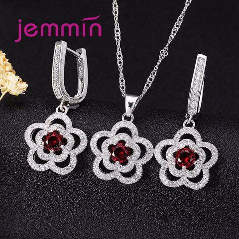 Jemmin Fine Jewelry Sets With Clear Micro Rhinestone Woman 925 Silver Flower Pendants Necklaces Earring Set For Wedding Party