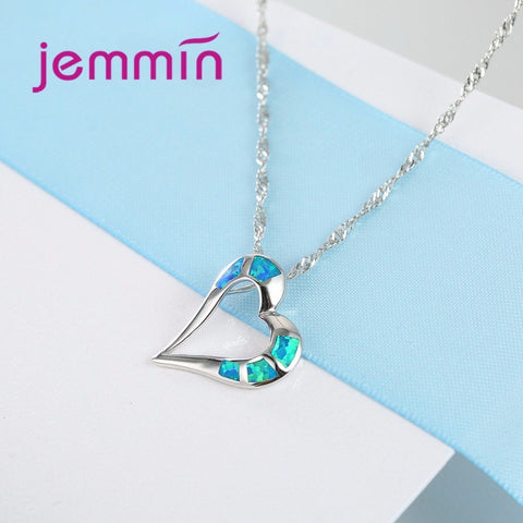 Jemmin Heart Design Opal Blue Pendant Choker Necklace 925 Sterling Silver Chain Collar Necklace Women Body Jewelry Accessories