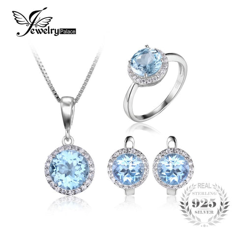 JewelryPalace 10.7ct Natural Sky Blue Topaz Halo Solitaire Engagement Ring Pendant Necklace Stud Earrings 925 Sterling Silver