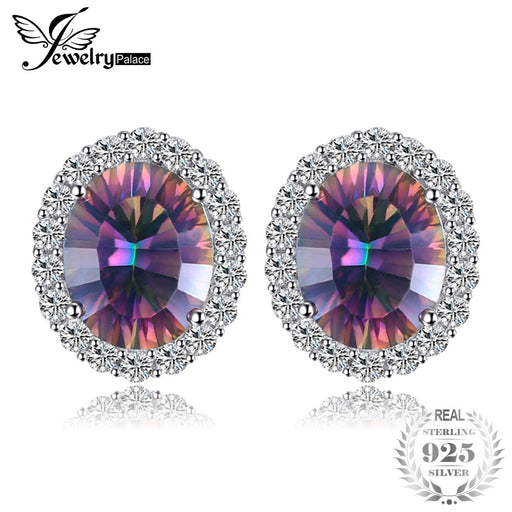 c8886687e JewelryPalace 6.6ct Oval Natural Rainbow Fire Mystic Topaz Earrings Stud  Genuine Pure 925 Sterling Silver