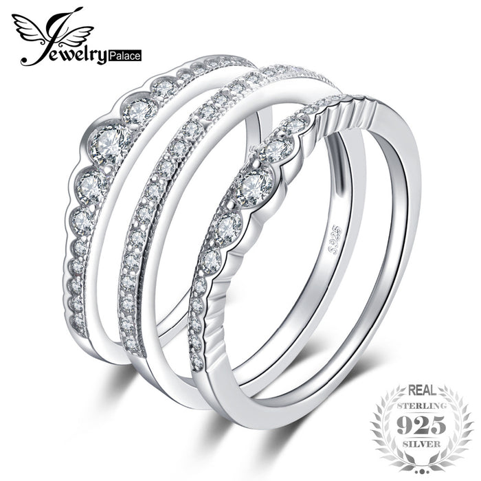 Stackable Wedding Bands.Jewelrypalace 925 Sterling Silver Rings 3 Pcs Stackable Wedding Band Anniversary Gift Engagement Ring Sets Bridal Jewelry Women