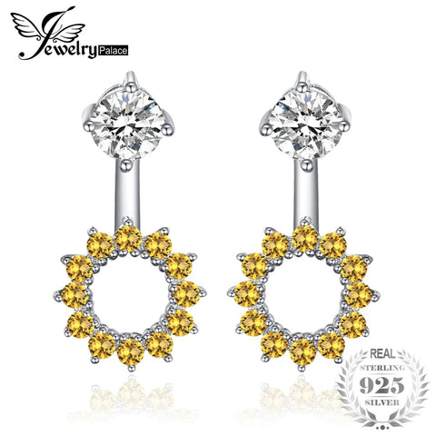 JewelryPalace Round 1.65ct Created Orange Sapphire Earrings Jacket Genuine 925 Sterling Silver Women Fashion Party Fine Jewelry