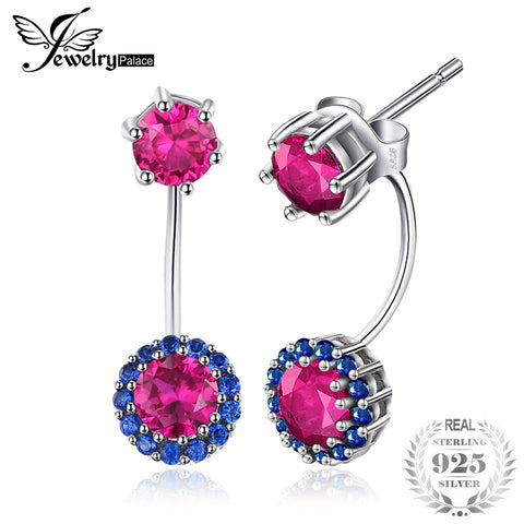 JewelryPalace Round 2.6ct Created Ruby Blue Spinel Earrings Jackets 925 Sterling Silver New Fashion Christmas Gift For Women