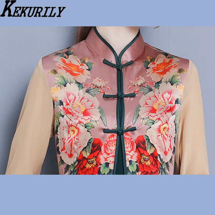 b3196a6f3f KEKURILY robe noel render party dress women 2 piece suits vintage Chinese  style dresses elegant noble