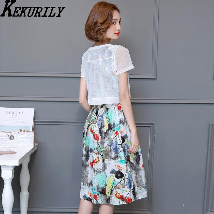 742a550b9d KEKURILY women dress suits plus size 3xl 4xl 5xl 2 piece party dresses  floral tunic cotton
