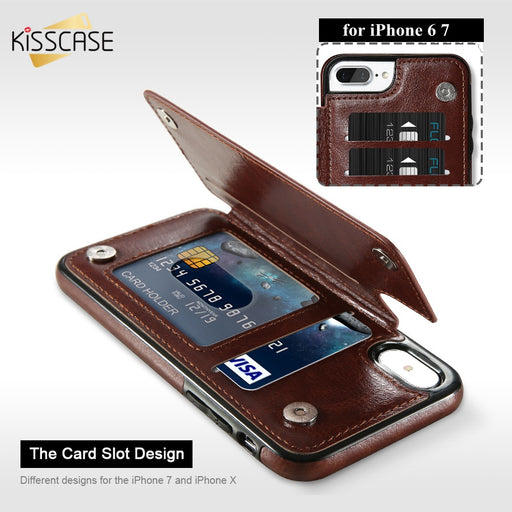 KISSCASE Leather Flip Phone Case For iPhone 6 6S Plus X Case Card Holder Buckle  Stand Cover For iPhone X 7 8 Plus Case Fundas
