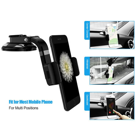 KISSCASE Universal Stretchable Car Phone Stand Holder For iPhone 7 7 Plus Bright Black Sucker GPS Car Holder For Samsung Xiaomi
