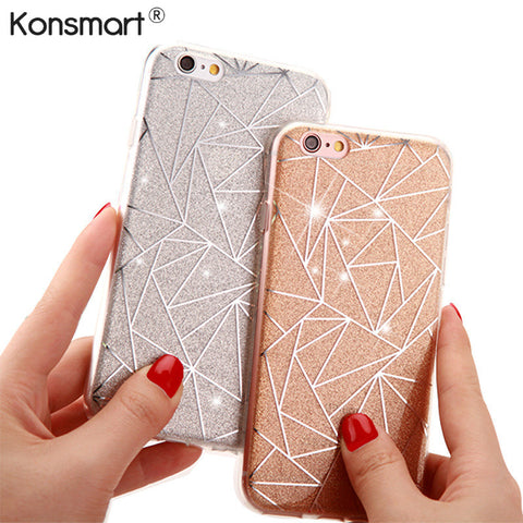 KONSMART Luxury Bling Glitter Case For iPhone 6 6s 7 Plus Case TPU Funda For Samsung Galaxy S7 S7 Edge S8 Silicone Back Cover