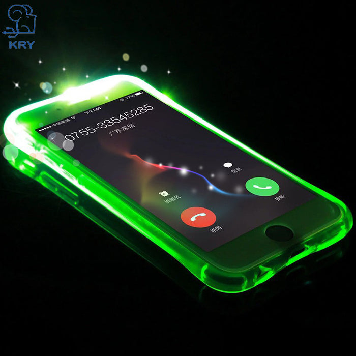 wholesale dealer 85d04 563eb KRY Light Up Phone Case For iPhone 7 Case, 7 8 Plus Flash Cover for iPhone  6 Case, 5 5s Cases Remind Incoming Call Capa Coque