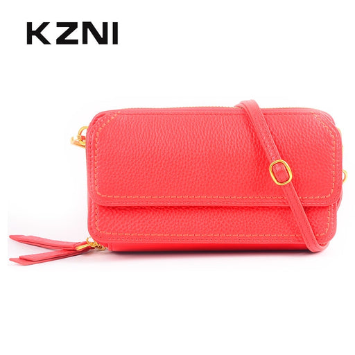 KZNI Genuine Leather Womens Wallets and Purses Shoulder Strap Bag for Girl High Quality Leather Purse Portomonee Femmes Sac 2162