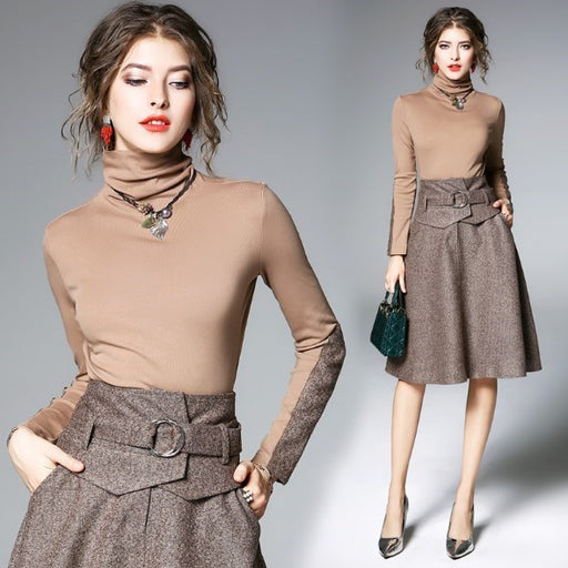 Korean Women 2 Piece Set Knee Length Skirt and Long Sleeve Top Womens Spring Autumn Winter Two Piece Sets Office Ladies Outfits
