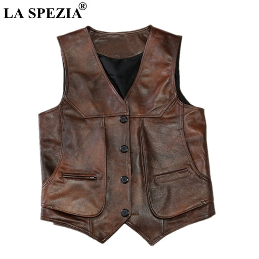 LA SPEZIA Brown Real Leather Vests Men Cow Leather Waistcoats Luxury Brand Thick Male Genuine Leather Jacket Sleeveless Gilet