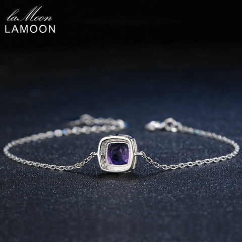LAMOON Charm Bracelet 925 Sterling Silver Jewelry Women Charms Bracelets 1.75ct Natural Purple Amethyst Pillows Almofadas Chain