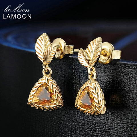 LAMOON Fine Body Jewelry 14K   Elegant Drop Earrings 2ct Triangle Citrine 925 Sterling Silver Womens Fashion Earrings