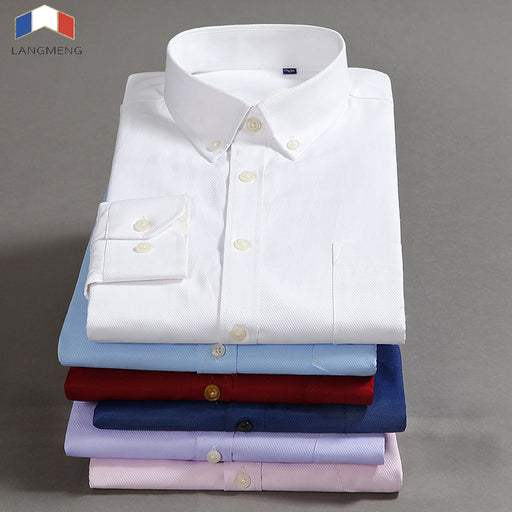 LANGMENG 2018 Brand Plus Size 7XL Men Dress Shirts Mens Slim Fit Casual Shirt Twill Solid Color Formal Social Shirt Easy Care
