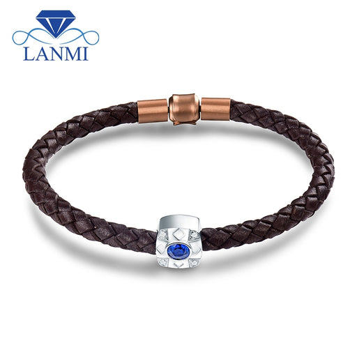 LANMI Solid 18Kt White Gold Natural Blue Sapphire Men's Bracelet Real Diamond Jewelry for Husband