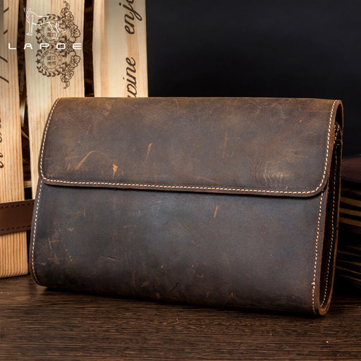 LAPOE Genuine Leather Men Wallets Crazy Horse Wallets Man Clutch Bag Phone Card Holder Male Purse Men Leather Wallet Purse