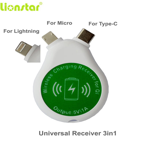 LIONSTAR Universal Qi Wireless Charging Receiver for iPhone 6S 5S for Samsung Portable 3 IN 1 Wireless Charger Adapter Tail Plug