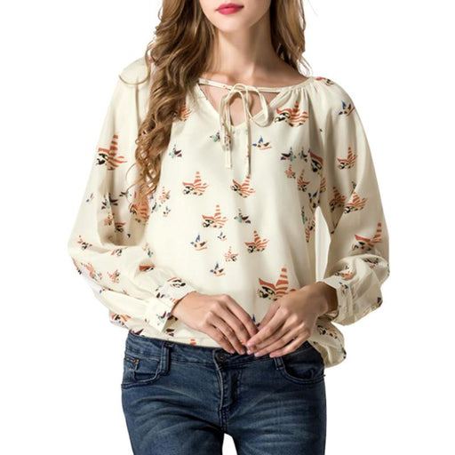 4342c5b58a LNRRABC Spring/Summer Women Shirt Chiffon Floral Print Long Sleeve Blouse  Casual V Collar Flying