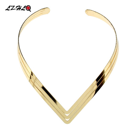LZHLQ North Africa Torques Collar Chokers Fashion 3 Layer Bright Metal Weld Bib Women Necklaces 2017 Statement Jewelry
