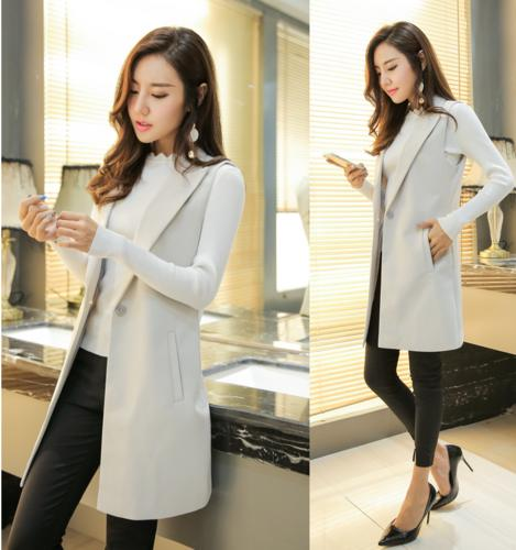 Modern Korean Winter Fashion: Lady Long Korean Style Self-cultivation Vest 2018 Spring