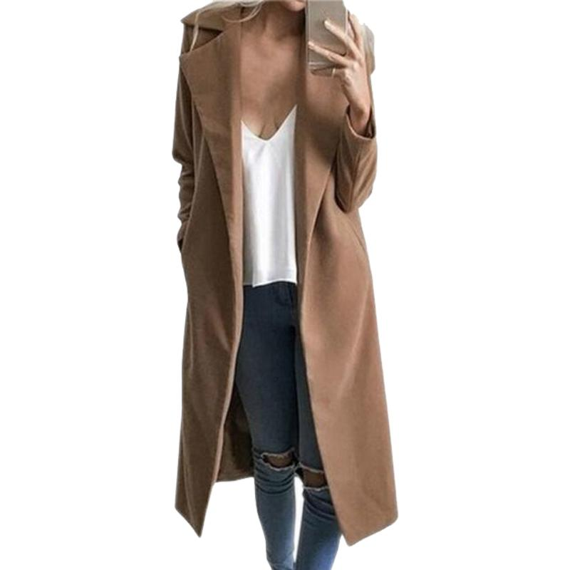 Lapel Collar Long Coats Cardigan Jackets 2017 Women Winter Elegant Thick Female Outerwear Jacket Femme Plus Size Overcoat Gv369