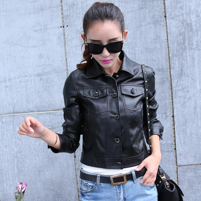 Leather Jackets Women S Short Motorcycle Jacket And Blazers 2018 Pu