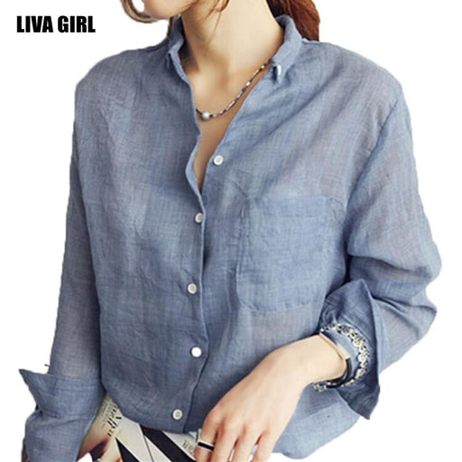 b764ff18d7 Liva girl 2017 Long Sleeved Women Shirt Big Size Loose Linen Shirt Female  Coat Blouse 3