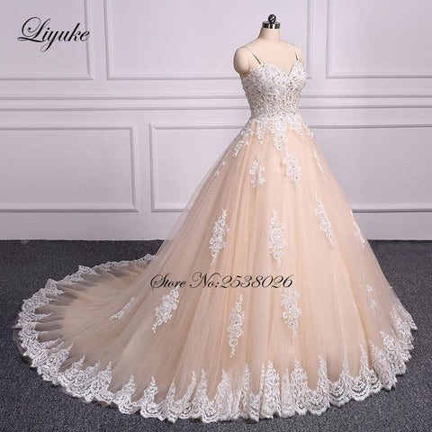 Liyuke Luxury Strapless Champagne Ball Gown Wedding Dress  Embroidery Floor-Length Chapel Train Bridal Dress robe de mariage 1
