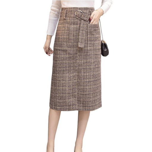 Long woolen warm plaid skirts womens 2018 spring autumn high waist plus size elegant office work skirt Woolen saia jupe faldas