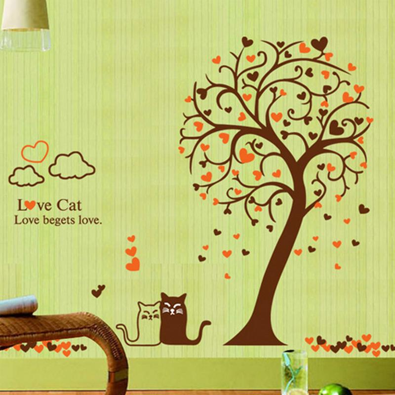 Love Cats Heart Shape Tree Wall Decal Home Sticker Paper Removable ...