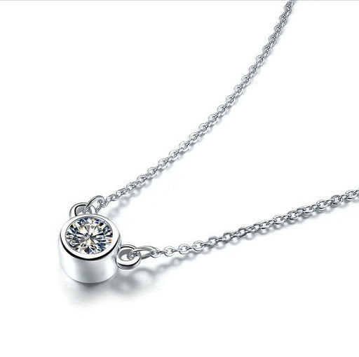 Lovely 925 Silver Chain Necklace Pendant Elegant 1CT SONA Diamond Jewelry Small Animals Ornaments Gold Cover