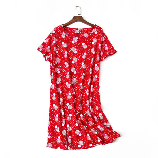 Low price wholesale 100% cotton Nightdress women Lovely cartoon short sleeve nightgowns simple casual sleepdress for women