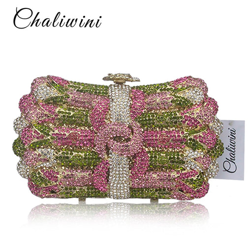 Luxury Crystal Evening Bag Women's Flower Wreath Diamond Party Purse Pochette Purse Lady Chain Handbags Wedding Bag Day Clutches