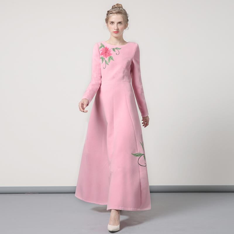 Luxury Winter Wool Long Dress Embroidery New Year Party ...