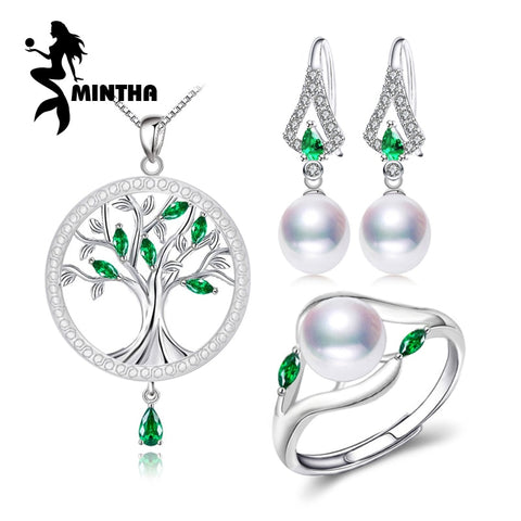 MINTHA Pearl Jewelry Sets s925 sterling silver life Tree Necklace Earrings For Women engagement ring Emerald leaf necklace sets